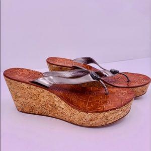 Tory Burch Silver Cork Wedge Platform Sandals  7.5